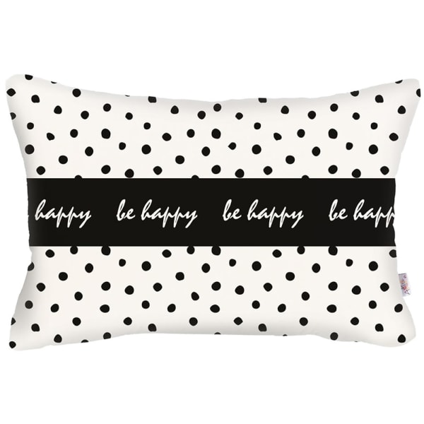 Be Happy Dots Decorative Rectangle Throw Pillow Cover