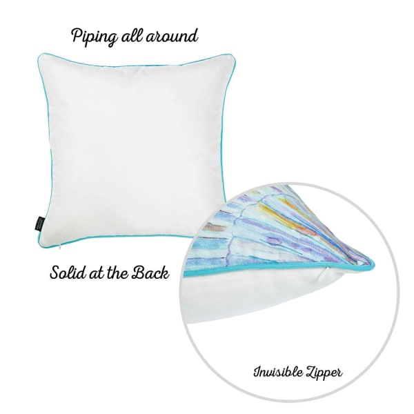 Seahorse Decorative Throw Square White Blue And Green Pillow Cover