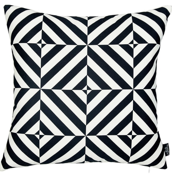Geometric Squares Decorative Throw Black and White Pillow Cover
