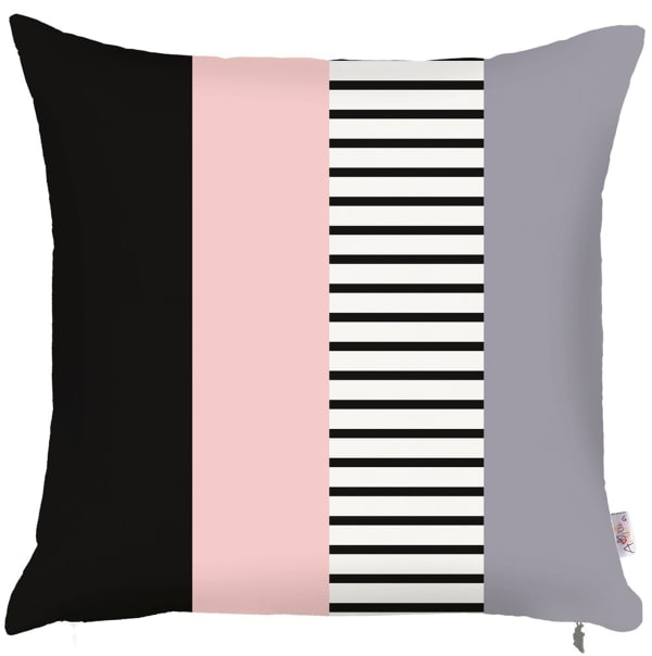 Decorative Throw Square Gray Pink and Black Pillow Cover