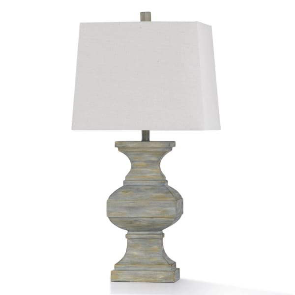 Hot Springs Washed Green Stone Colored Resin Table Lamp