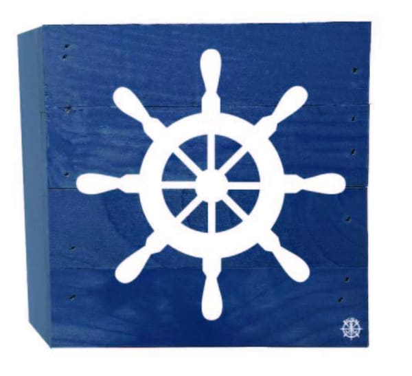 BOAT WHEEL ON BLUE Wall Accent