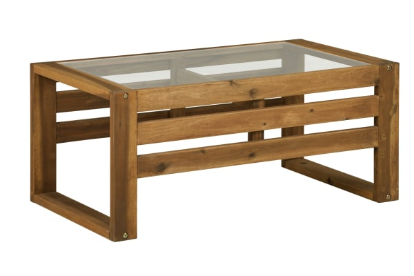 Hudson Wood Patio Outdoor Coffee Table with Glass Top