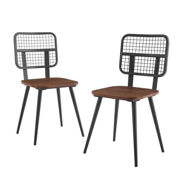 Industrial Grid Back Set of 2 Dining Chair