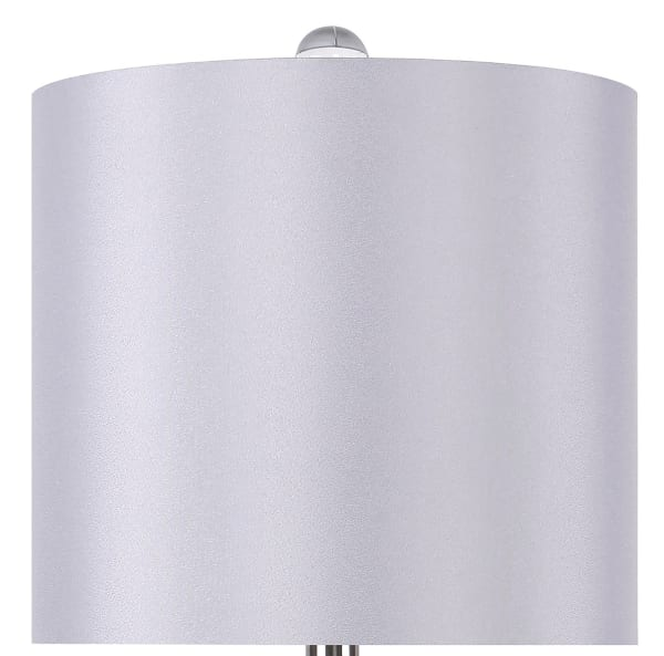 Genuine Crystal with Brushed Nickel Accents & Grey Silk-Like Shades Lamps