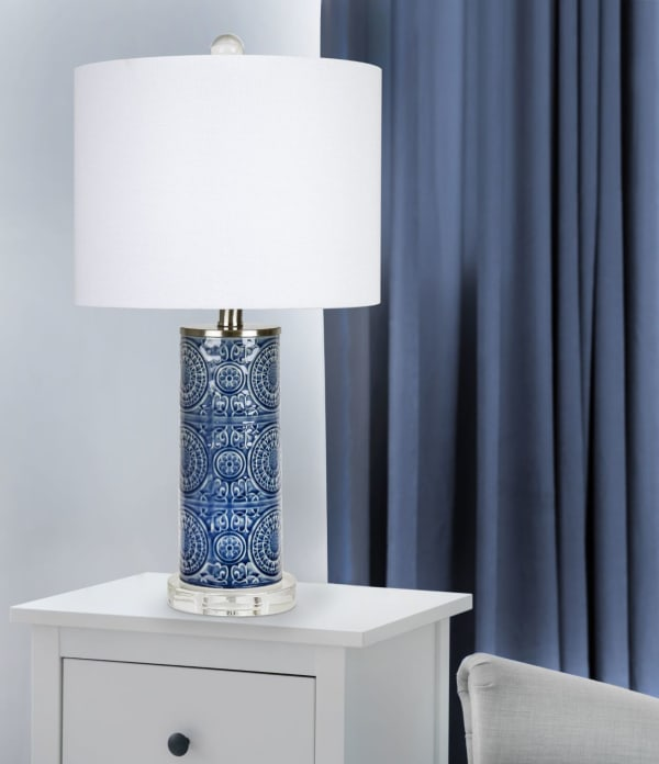 Bijou Blue Ceramic with Brushed Nickel & Clear Crystal Base Table Lamp