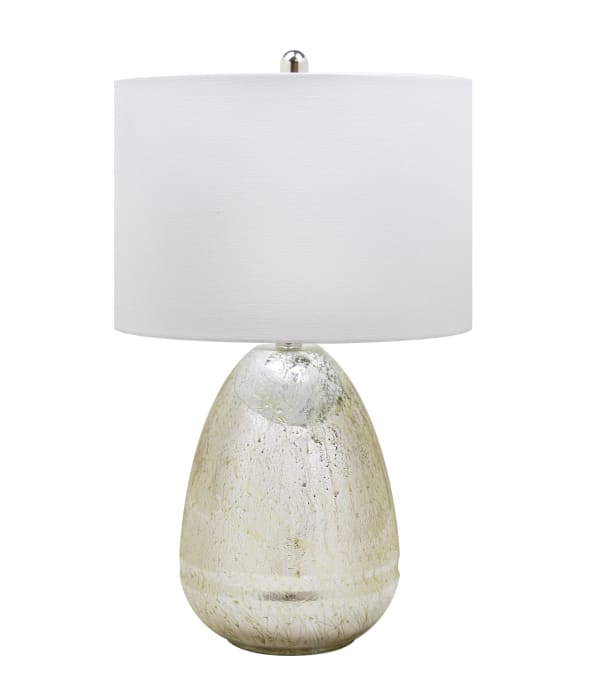 Chrome Root Storm Glass with Polished Nickel Base & White Linen Shade Table Lamp