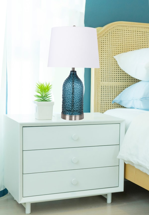 Blue Dimpled Glass with Brushed Nickel Accents & an Off-White Linen Shade Table Lamp