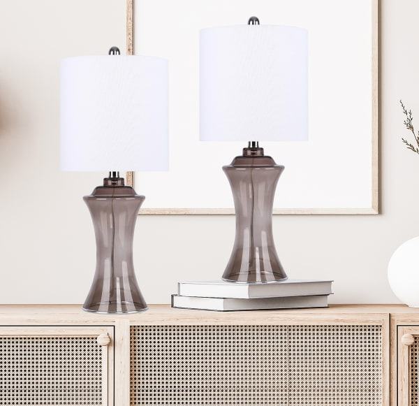 Taupe Grey Hourglass-Shaped Body & Off-White Linen Shade Table Lamps