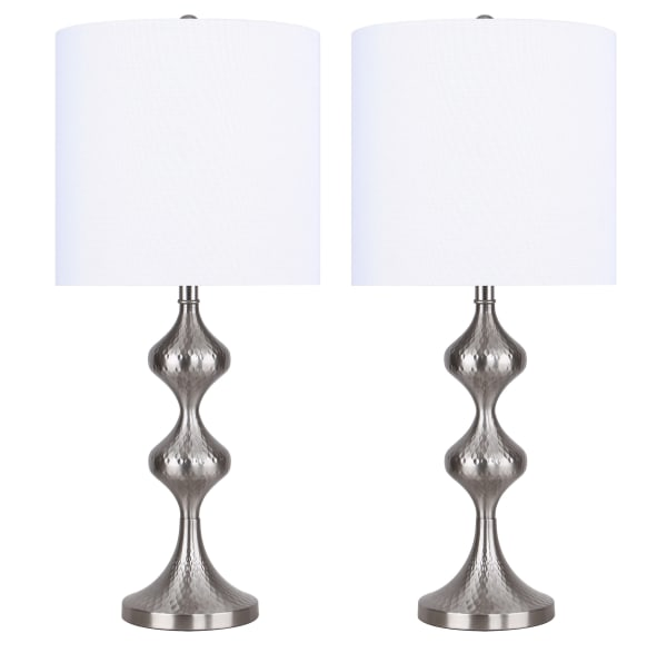 Brushed Nickel with Textured Geometric Patterned Base & White Linen Shade Table Lamp