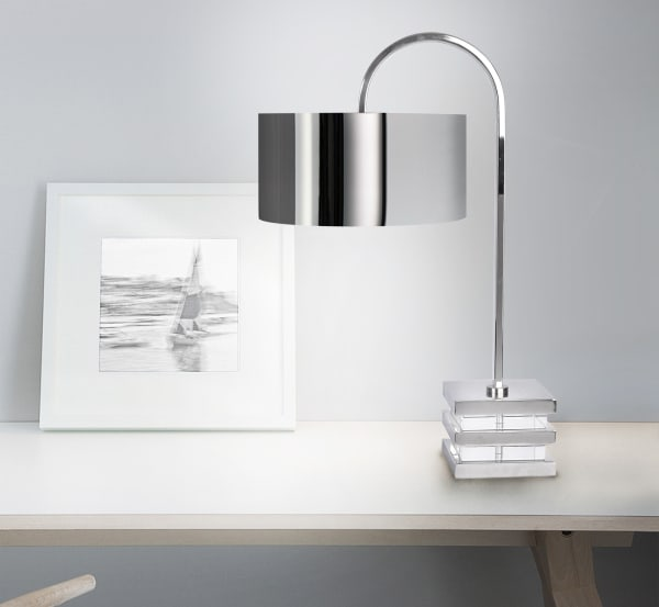 Polished Nickel with Clear Crystal Base Desk Table Lamp & Shade