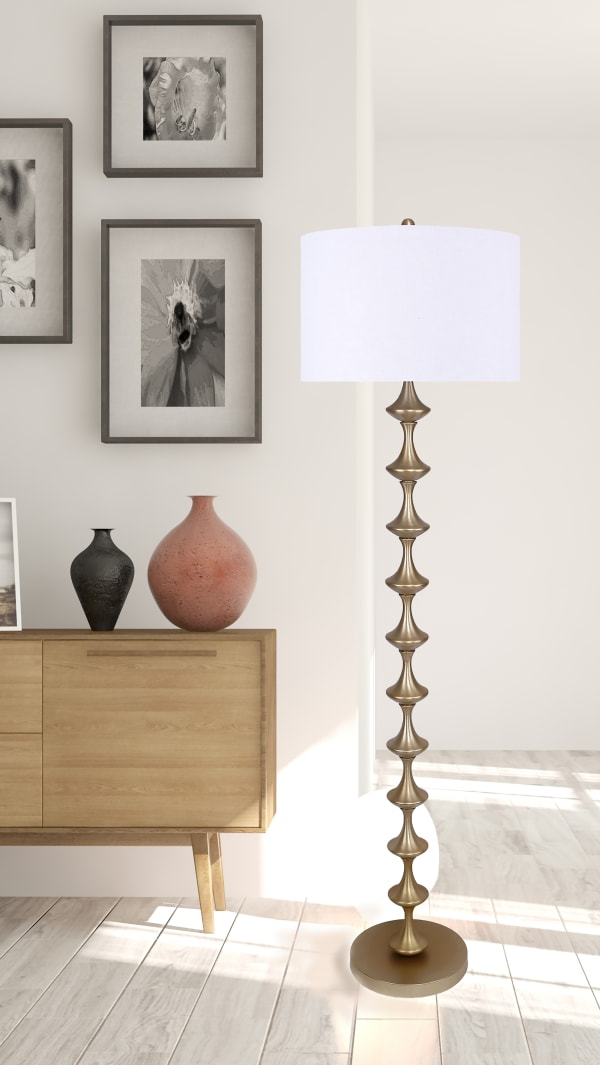 Gold Plated Metal with Tiered Design & Off-White Linen Shade Floor Lamp