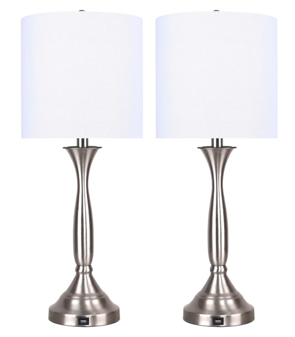 Brushed Nickel with USB Port in Base and White Linen Shade Table Lamps