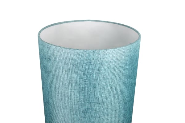 Brushed Nickel with Turquoise Drum Shades Set of 2  Table Lamps