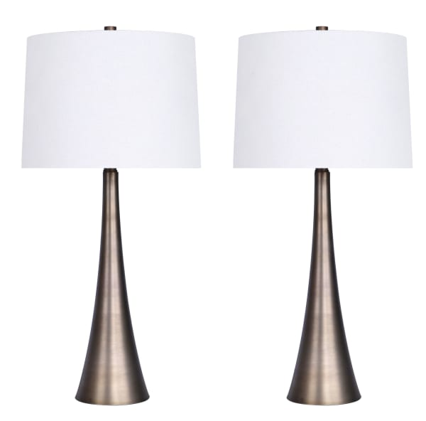 Matte Golden Bronze Metal with Tapered Curve Design Set of 2 Table Lamps