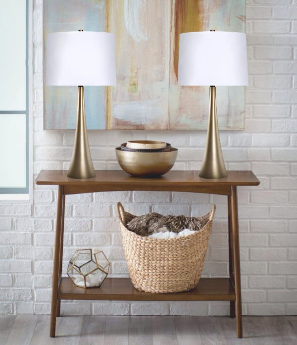 Plated Gold Metal Featuring Tapered Curve Design Set of 2 Table Lamps