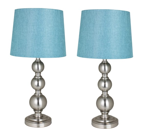 Brushed Nickel  with Turquoise Shades Set of 2 Table Lamps