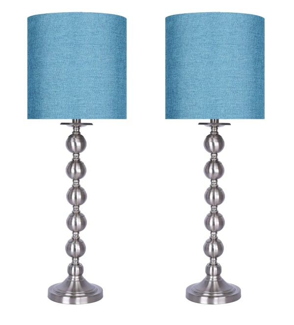 Brushed Nickel Metal Featuring Stacked Sphere Design and Turquoise Drum Shades Table Lamps