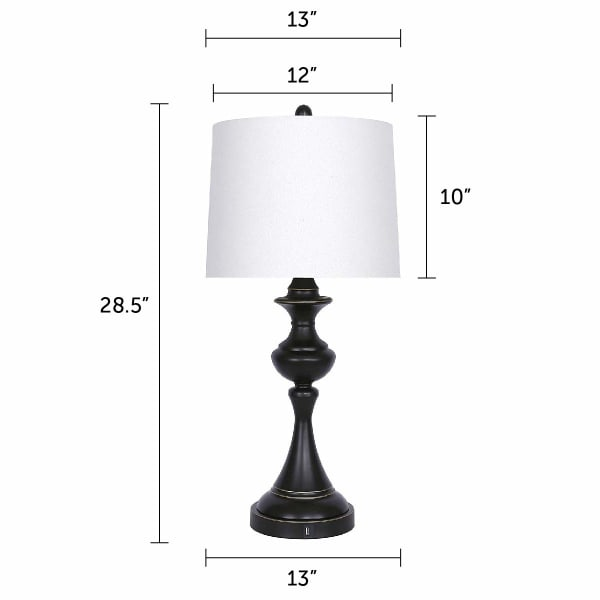 Oiled Bronze USB Port with White Linen Shade, USB Charger in Lamp Base Set of 2 Table Lamps