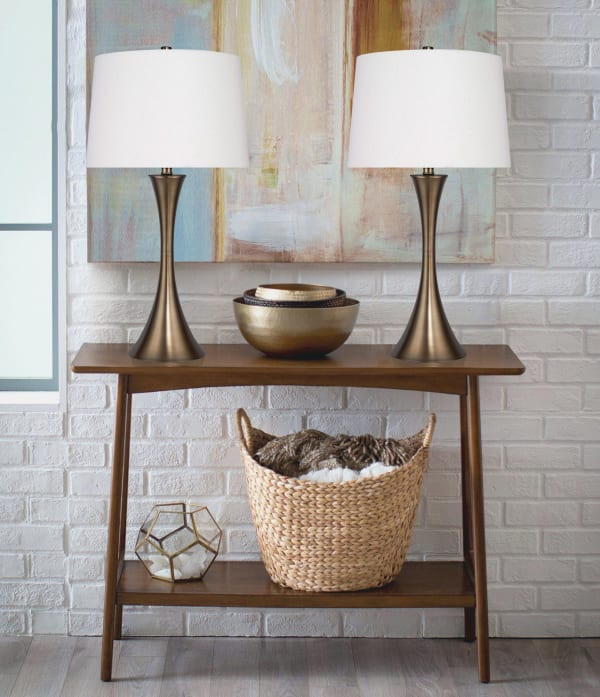 Matte Golden Bronze with Hourglass Body Design and Off-White Linen Set of 2 Table Lamps