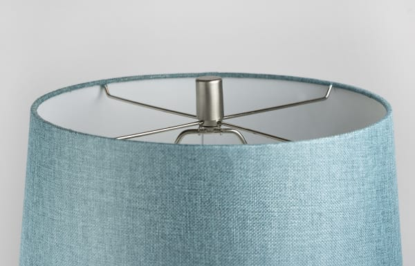 Brushed Nickel Table Lamp Set ft. Modern Angular Hourglass Body and Turquoise Linen Tapered  Shades