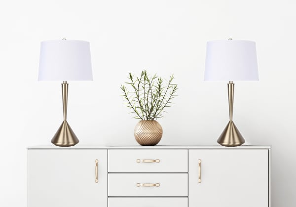 Gold Plated Table Lamp Set with Modern Angular Hourglass Body & Off-White Linen Shades