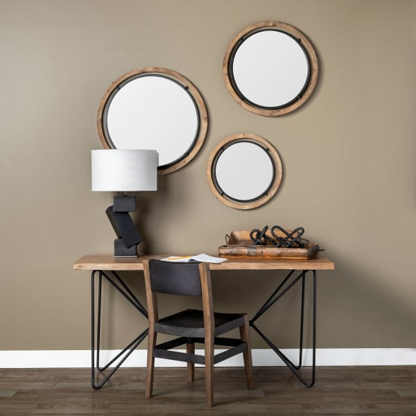 Josh I Small Brown Wood and Black Metal Frame Mirror