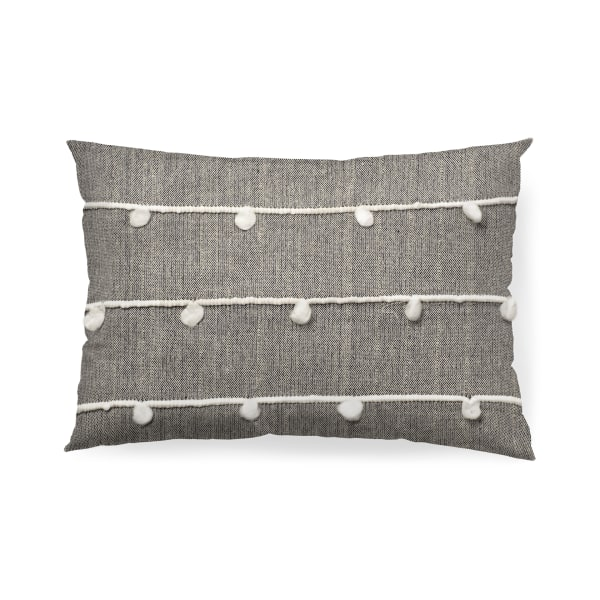 Linda 13 x 21 Navy And Cream With White Detail Decorative Pillow Cover