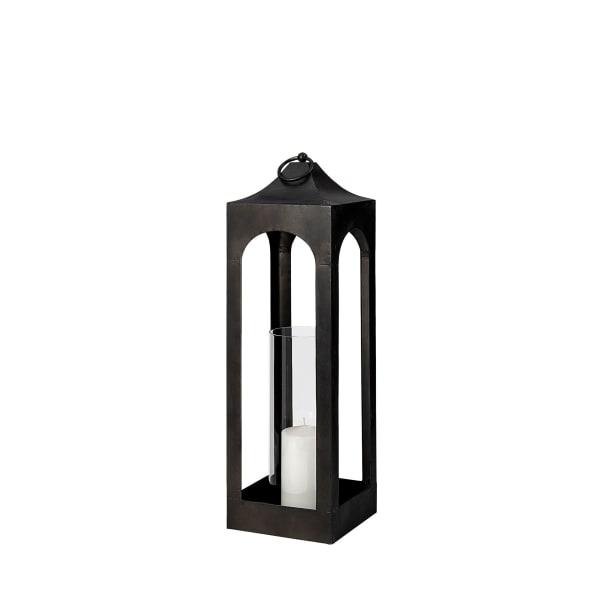 Ina Short Charcoal Metal Candle Holder Lantern