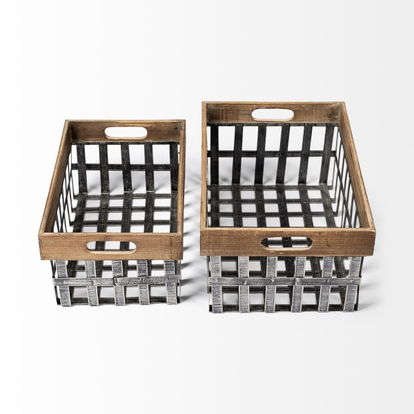 Chartrand Wood And Metal Open Crate Style Set of 2 Baskets