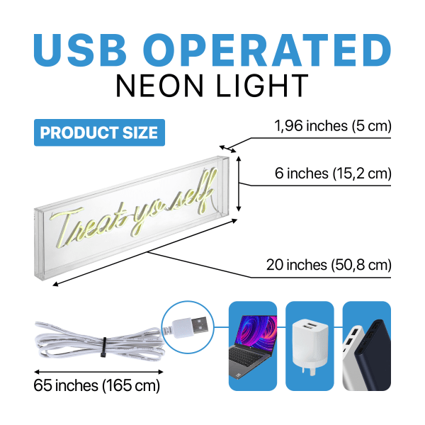 Treat Yo Self Contemporary Glam Acrylic Box USB Operated LED Yellow Neon Light