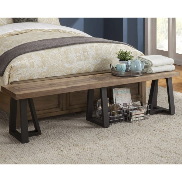 Prairie Wood Dining Bench in Natural-Black