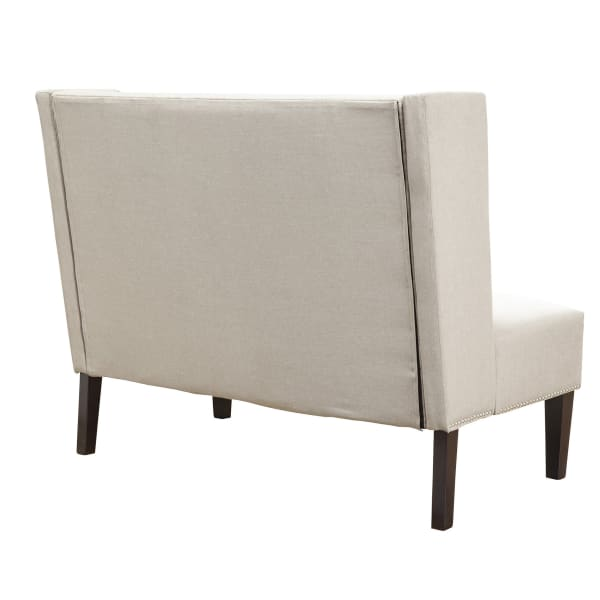 Aristocrat Upholstered Bench with Back in Beige-Gray
