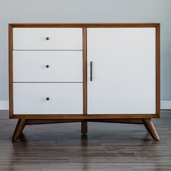 Flynn Accent Wood Cabinet in Acorn & White