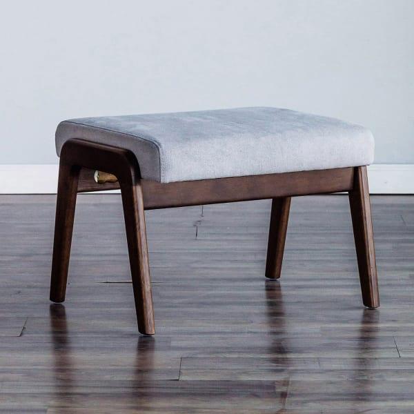 Zephyr Slate Wood Footrest in Brown-Gray