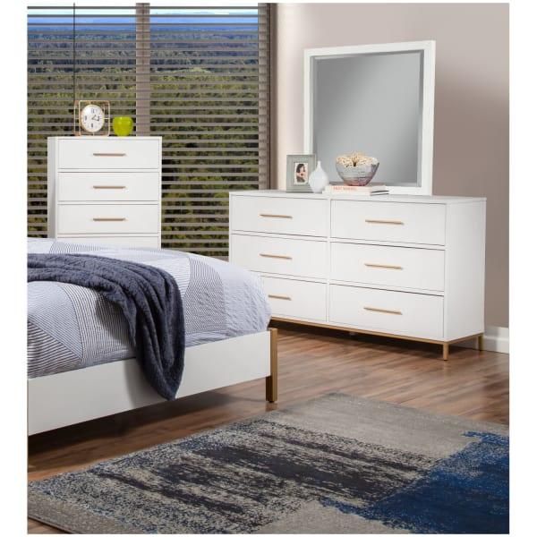 Madelyn Wood Dresser Mirror in White