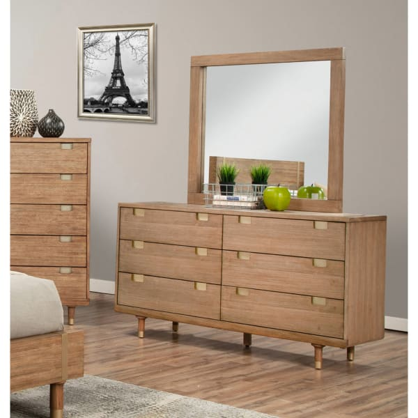 Easton Wood Dresser Mirror in Sand