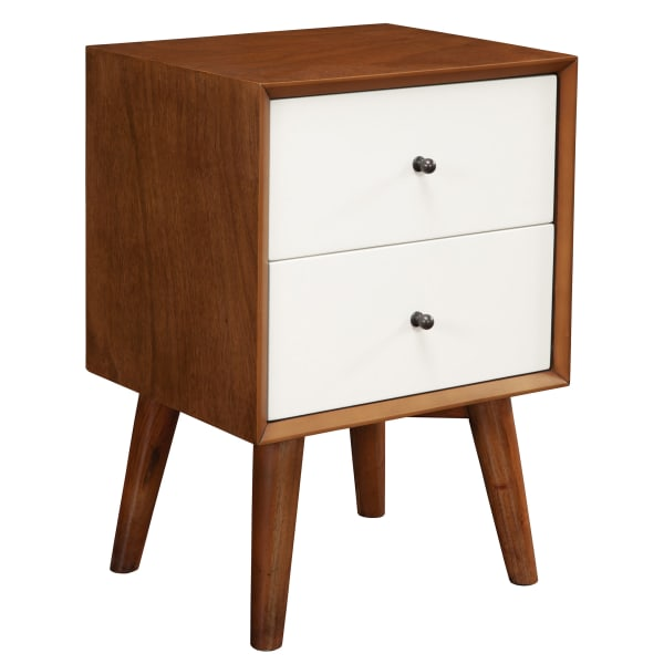 Flynn 2 Drawer Two Tone Wood Nightstand in Acorn-White