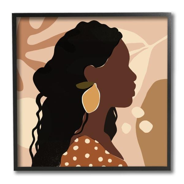 Curly Hair Lemon Citrus Earring Female Portrait Black Framed Wall Art