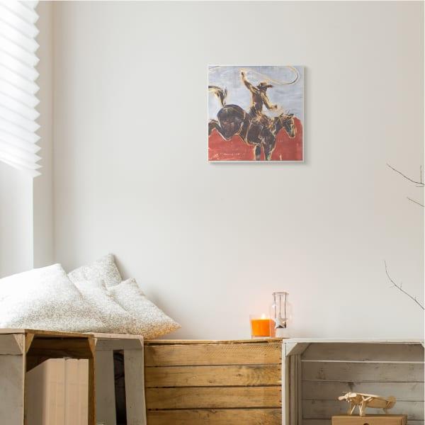 Rustic Western Cowboy Wild Horse Lasso Wood Wall Art, 12 x 12