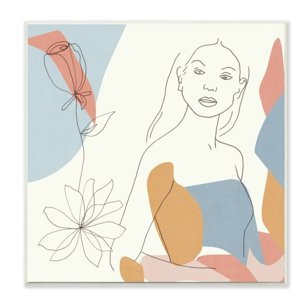 Expressive Female Linework Spring Florals Pastel Curves Wood Wall Art, 12 x 12