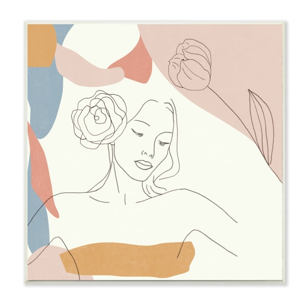 Female Linework Study Floral Hair Abstract Curves Wood Wall Art, 12 x 12