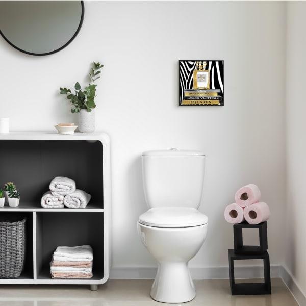 Glam Fragrance Fashion Book Stack Black Zebra Print Black Framed Wall Art, 12 x 12