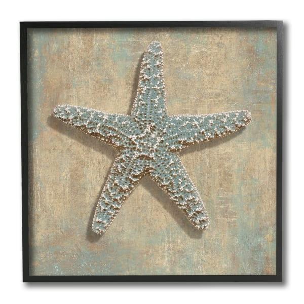 Nautical Starfish Ocean Animal Muted Neutral Black Framed Wall Art, 12 x 12