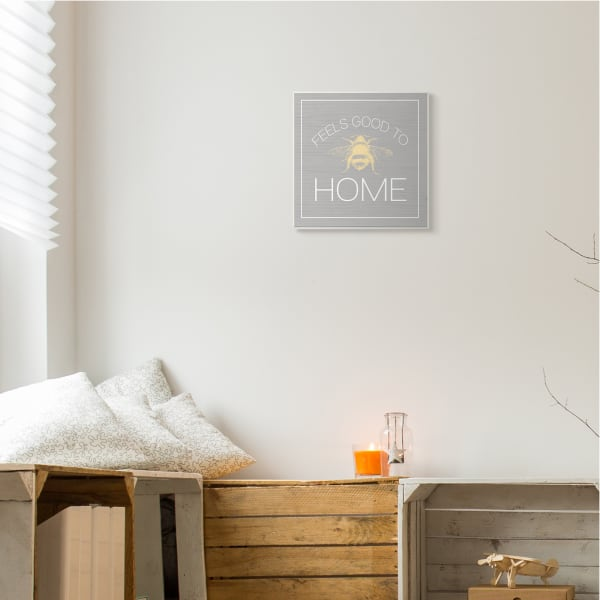 Good To Bee Home Phrase Cute Insect Pun Wood Wall Art, 12 x 12
