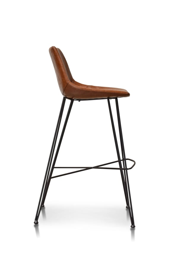 Chestnut Brown Faux Leather Upholstery Steel Base Bar Stool