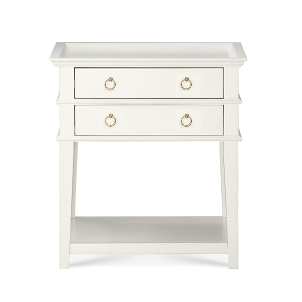 Collin White 2-Drawer Tray Top Nightstand