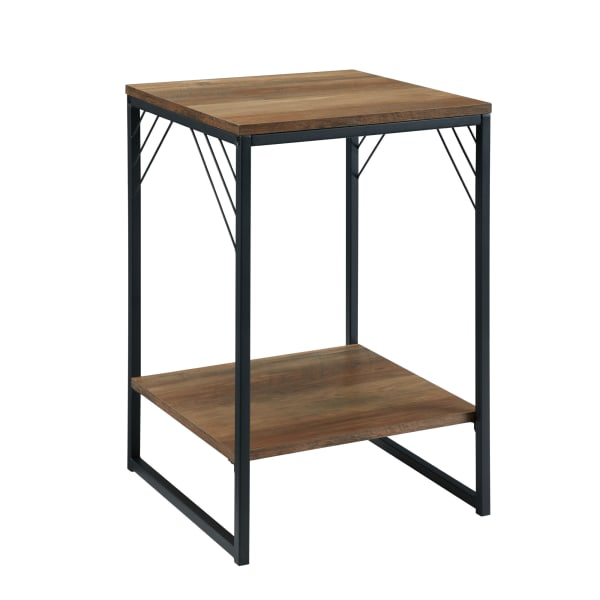 Reclaimed Barnwood Industrial Metal Accent Side Table