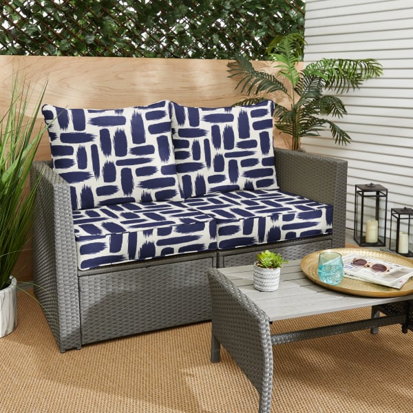 Corded Blue Graphic Loveseat Deep Seating Pillow and Cushion Set
