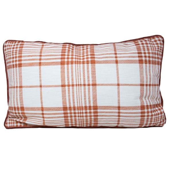 Pier 1 Rust Plaid Reversible Lumbar Pillow